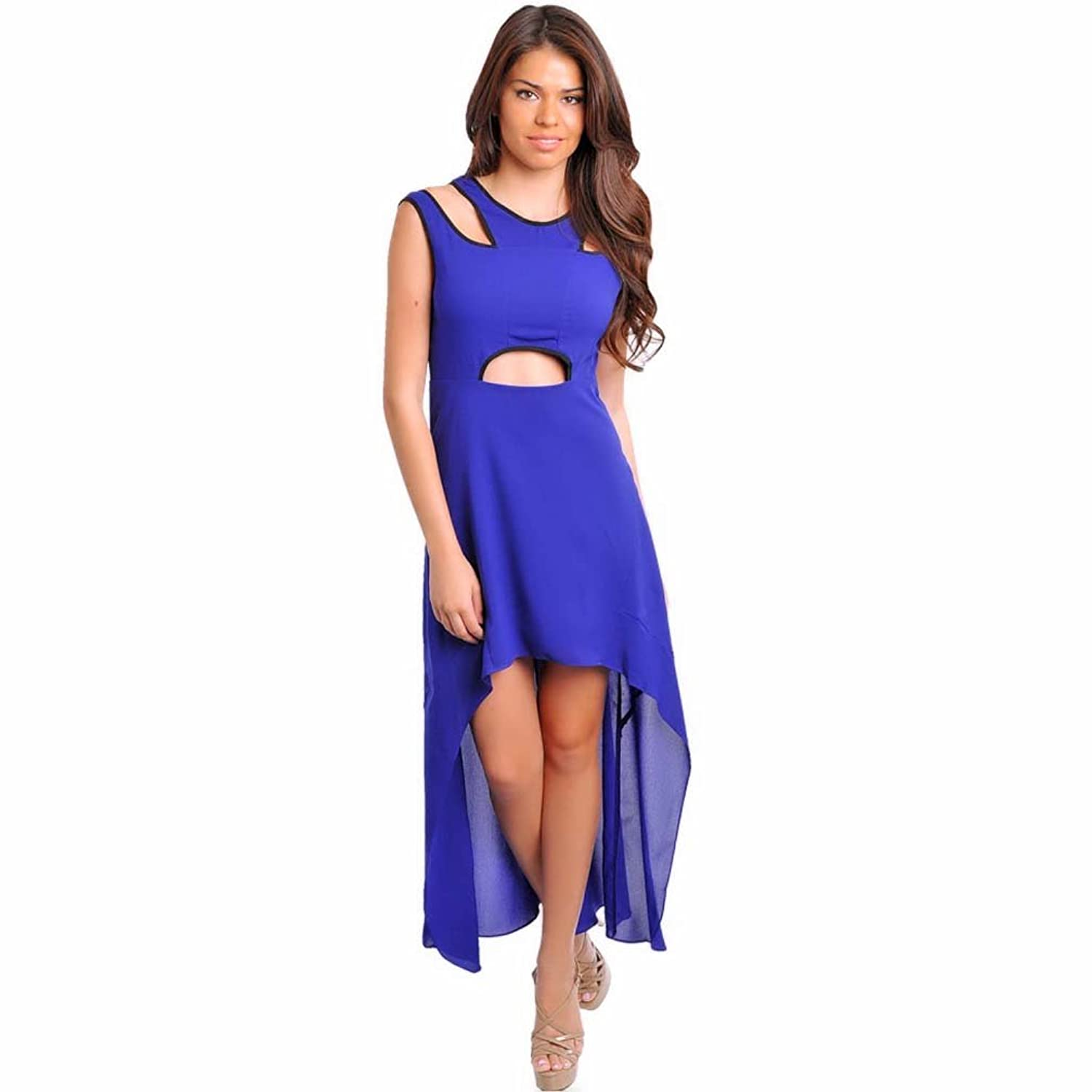 Luxury Divas Royal Blue High-Low Cut-Out Dress With Lace Up Back