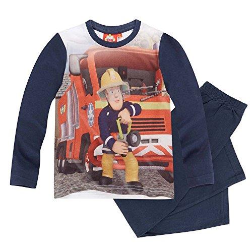 Feuerwehrmann Sam - Kinder Jungen Pyjama Schlafanzug Gr. 98 - 128, Größe:104;Farbe:Dunkelblau