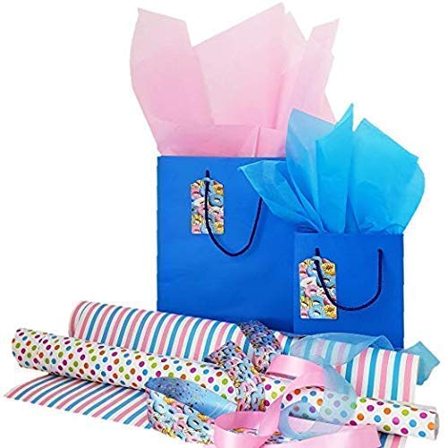 Complete Paper Wrapping Set, Dream Donut Design with Bags and Tags, Ribbons, Wrapping Paper and Tissue Paper for All Occasions, Blue