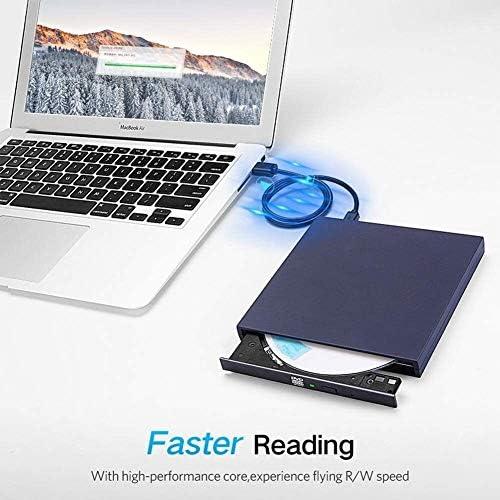 KJRJFD USB2.0超薄型ポータブルドライブ、CD DVDリライタバーナー、ラップトップ/デスクトップ/オールインワンのための高速データ伝送用USB光学ドライブ