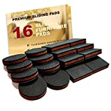 "Furniture Pads for Wood Floors NON SLIP Furniture Pads 16 PCS! Premium 2"" Furniture Feet with Rubber & Felt - Best Hardwood Floor Protectors for Keep All Furniture. High Effective Rubber Furniture Pads for 100% Satisfaction"