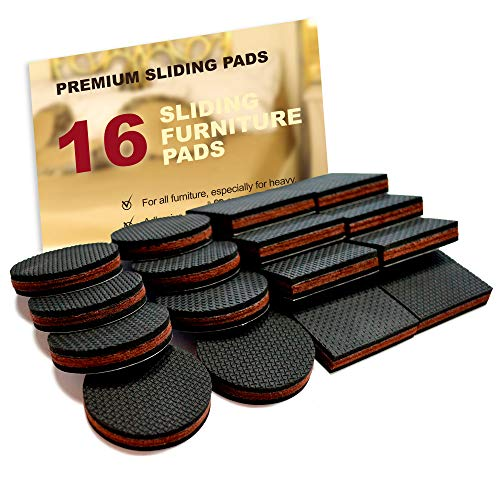 """NON SLIP Furniture Pads 16 PCS! Premium 2"""" Furniture Feet with Rubber & Felt - Best Hardwood Floor Protectors for Keep All Furniture. High Effective Rubber Furniture Pads for 100% Satisfaction"""