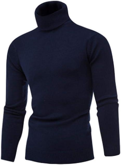 Shawnlen Herren Casual Slim Fit Gestrickter Langarm Pullover Rollkragen Einfarbig Elastischer Thermo-Pullover