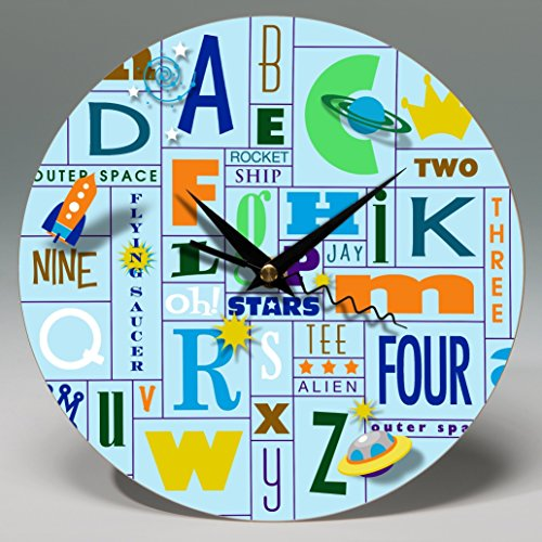 """8"""" Round Alphabet Blue Wall Clock ~ Personalize this whimsical ready-to-hang decorative piece of wall art for your boy's bedroom."""