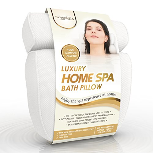 Luxury Home Spa Bath Pillow. Deep Cushions Cradle Head and Neck, Hug Shoulders, Optimise Back Support, Ensure Comfort. Pure Indulgence (Pillows Hampton)