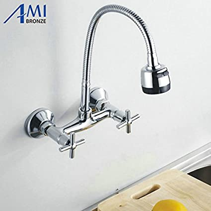 Buy Generic Wall Mounted Flexible Pull Up And Down Mixer Tap Faucet Bathroom Basin Kitchen Sink 2function Trigger Spout Online At Low Prices In India Amazon In