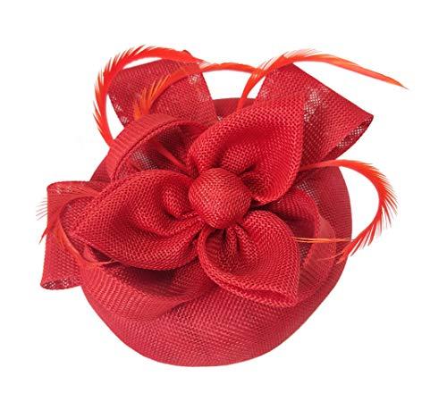 (Ahugehome Fascinator Hats for Women Feather Headband Fascinators Pillbox hat Wedding (H Red))