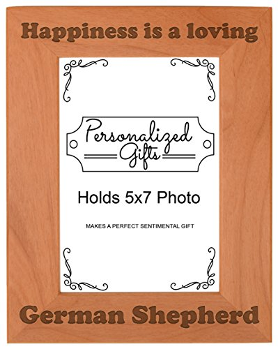 (ThisWear German Shepherd Picture Frame Happiness is a Loving German Shepherd Dog Gifts Dog Lovers Natural Wood Engraved 5x7 Portrait Picture Frame Wood)