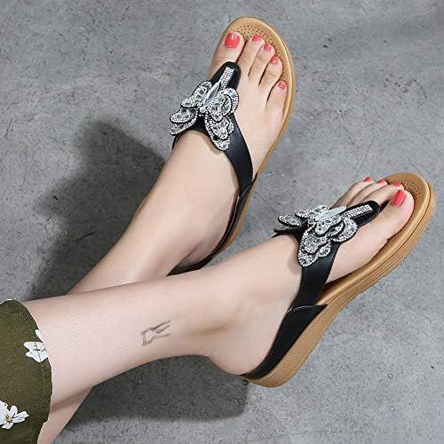 Desirepath Womens 2019 Summer Flip Flops for Women Rhinestone with Arch Support