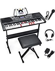 $129 » Costzon 61-Key Electronic Keyboard Piano w/Lighted Keys, Built-in Speakers, Recorder, 255 Timbres/Rhythms, 3 Teaching Modes, LCD Display, Headphones, Adjustable Stand for Beginner Adults Kids (Black)
