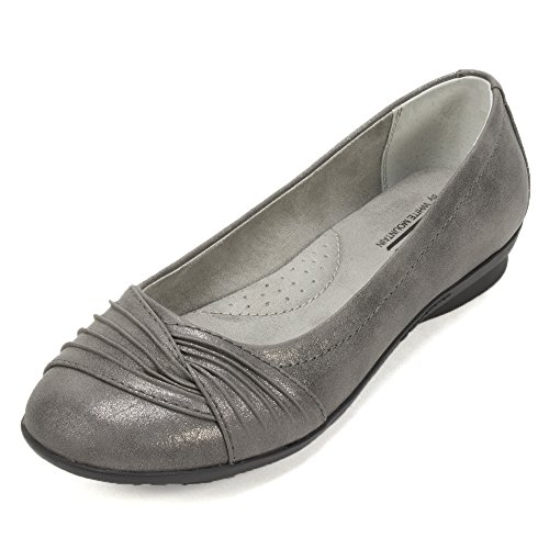 WHITE MOUNTAIN Women's Hilt Ballet Flat, Pewter, 7 M US