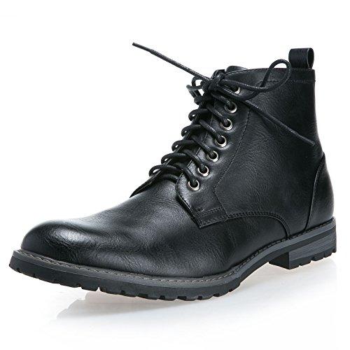 MForshop scarpe uomo scarponcino tronchetto stivaletto stringate lacci eco pelle moda Y09 Nero