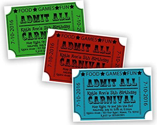 amazon com carnival ticket birthday invitations boy girl circus