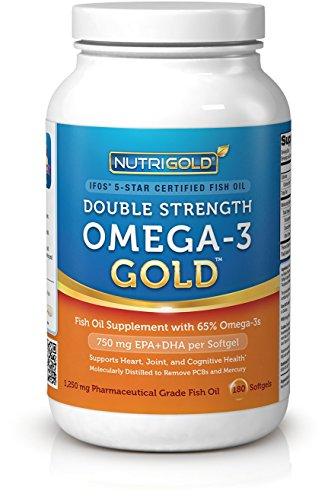 NutriGold Double Force Omega-3 d'or, 180 (Supplément Or huile de poisson standard avec 500 mg d'EPA et 250 mg de DHA par gélule) gélules 1500 oméga-3 par portion de 2 capsules