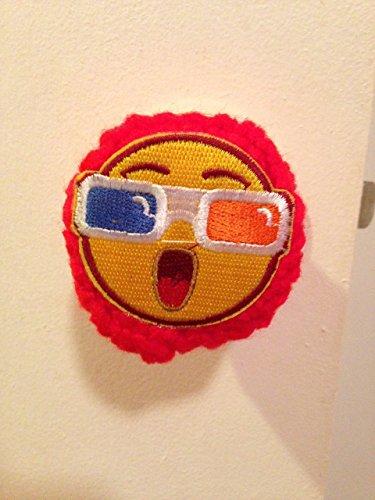 Door knob Cover Yellow Face handmade crochet sunglasses red orange blue iron on - Fundraiser Sunglasses