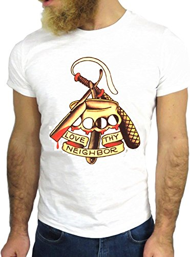 T SHIRT JODE Z3347 TATTO VINTAGE JERRY COOL ROCK USA AMERICA HIPSTER SAILOR UK GGG24 BIANCA - WHITE L