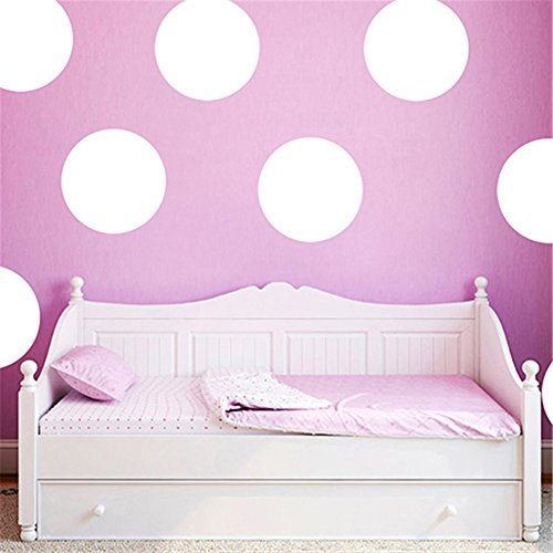 (dds5391 Polka Dots Baby Nursery Children Wall Decals Home Decor DIY Kids Vinyl Wall Sticker - White L)
