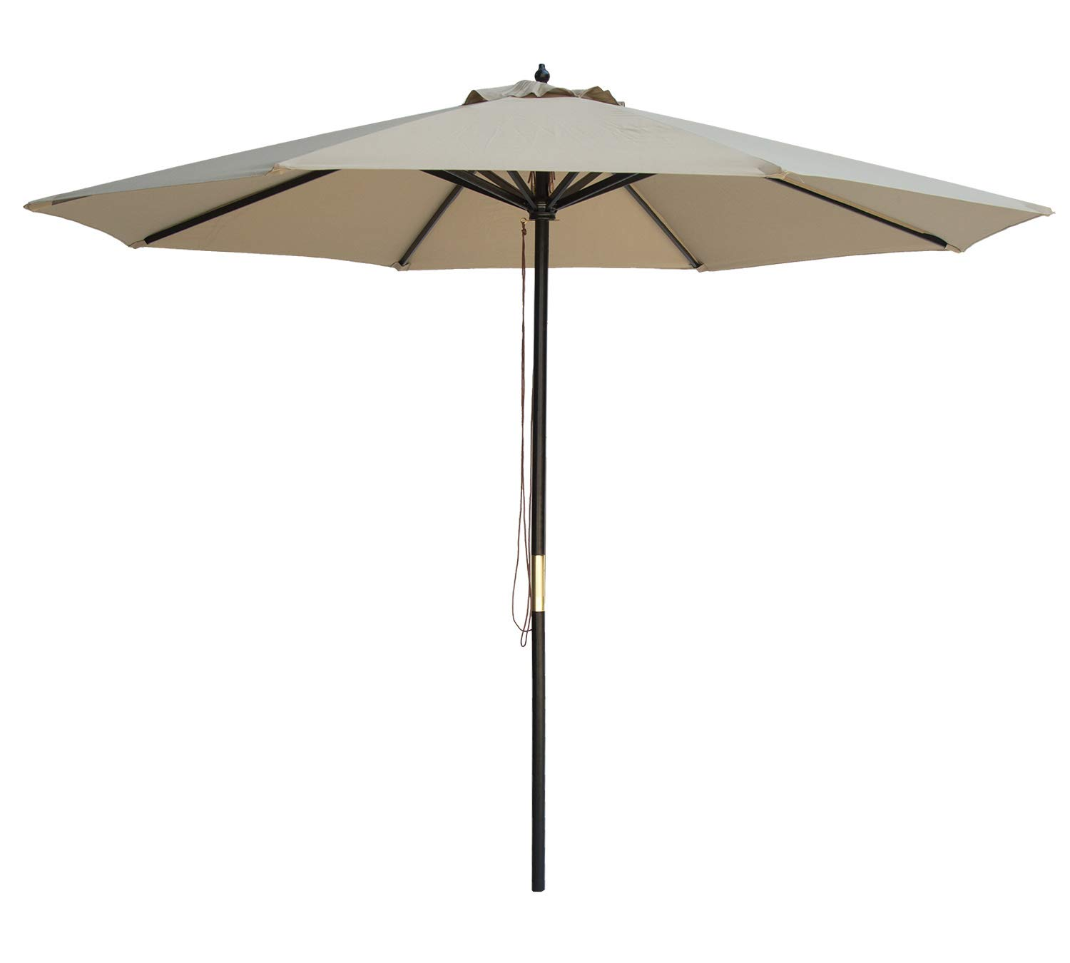 SUNBRANO 9 Ft Wood Frame Patio Umbrella Outdoor Garden Cafe Market Table Umbrella Pulley Lift with Air Vent, 8 Ribs, Taupe