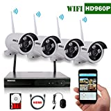 OOSSXX 4CH 1080P HD Wireless Video Security Camera System,4PCS 960P Megapixel Wireless Weatherproof Bullet IP Cameras,Plug and Play,70FT Night Vision,P2P,App, HDMI Cord&1TB HDD Pre-install