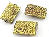 Best Gold Colors With Bead Shapes - 1 Bead - Large rectangle shape ethnic tibetan Review