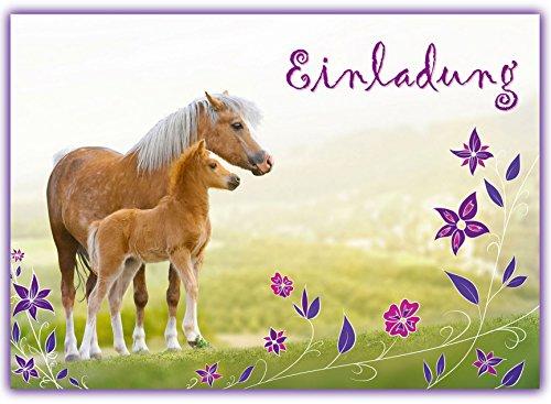 12 Pferde Einladungskarten zum Kindergeburtstag // Geburtstagseinladungen Mädchen Einladungen Geburtstag Kinder Blumen Einhorn Einladungstext Vorlagen Set Karten Set