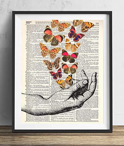Hand Print Art (Hand With Butterflies (#2) Vintage Dictionary Art Print)