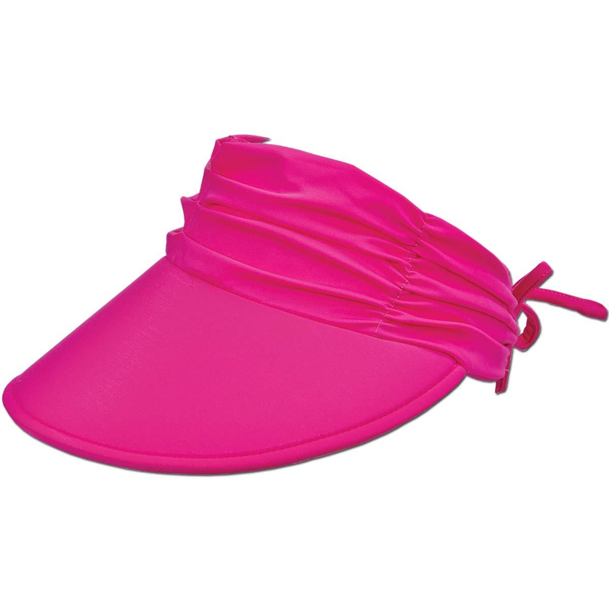 Lightweight Packable 4 Wide Floating Big Brim with Embroidered Logo Panama Jack Womens Sun Visor Hat Adjustable Tie