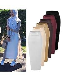 Ababalaya falda de rodilla gruesa, elástica, hasta el tobillo, para dama