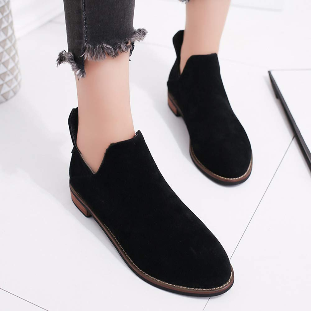 36ceaa13b457 Amazon.com  Womens Autumn Winter Low Heel Flat Block Ankle Boots Ladies  Comfortable Work Shorty Shoes  Clothing