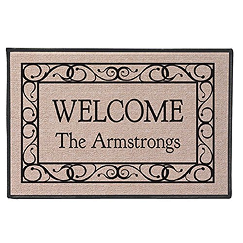 Personalized Front Door Mats (Personalized [Your Family Name] Indoor/Outdoor Doormat - Swirls Design)
