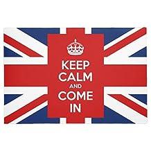 """LOU5KB Keep Calm and Come in with UK Flag Union Jack Door Mat Doormat Washable Indoor/Outdoor Decor Rubber Doormats 16"""" x 24"""""""