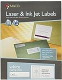MACO Laser/Ink Jet White Address Labels, 1 x 4 Inches, 20 Per Sheet, 2000 Per Box (ML-2000)