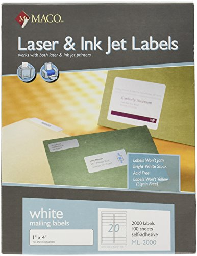 Maco laser ink jet white address labels 1 x 4 inches 20 for Maco laser and inkjet labels template