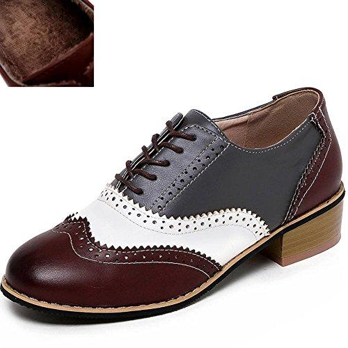 para Cordones Fur Zapatos de DoraTasia White Mujer Grey 6 brown tvRPZnwPqx