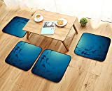 Leighhome Comfortable Chair Cushions Decor Hammerhead Shark School Scan Ocean Dangerous Predator Wild Nature Illustration Navy Reuse can be Cleaned W17.5 x L17.5/4PCS Set