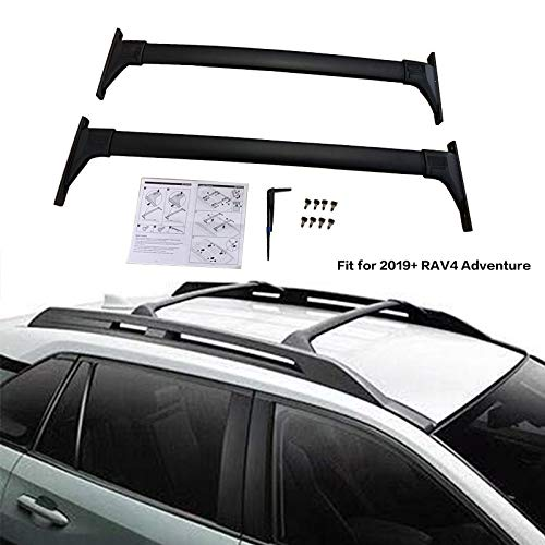 Kingcher 2 Pieces Cross Bars Fit for 2019 2020 Toyota RAV4 Adventure Black Crossbars Roof Rack Baggage Luggage Lockable