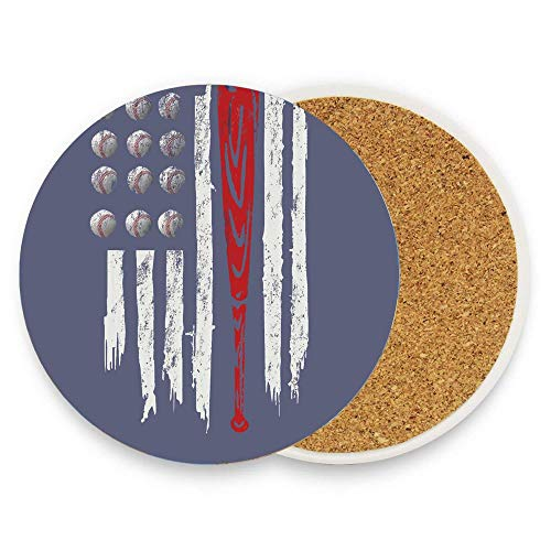keyishangmaoLu Vintage Baseball Bat American Flag Coaster Ceramic Cork Trivet Heat Resistant Hot Pads Table Cup Mat Coaster 1 Piece