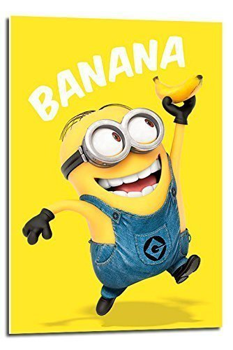 Despicable Me Minions Banana Póster de Flotador montado – 90 x 60 cms (Aprox 36