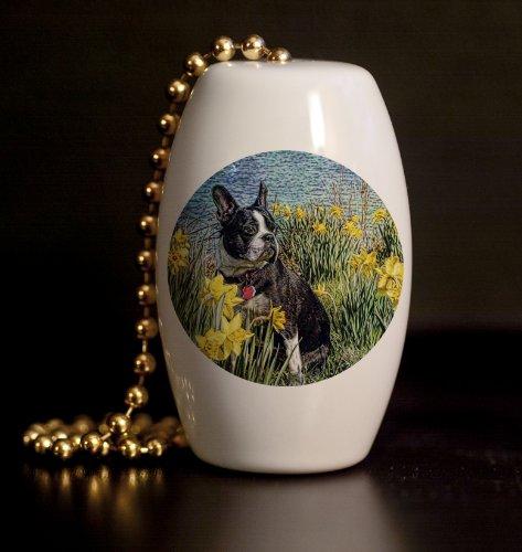 Daffodil Pull (Boston Terrier in the Daffodils Porcelain Fan / Light Pull)