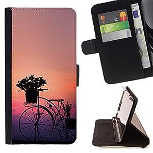 Momo Phone Case / Flip Funda de Cuero Case Cover - Bicicleta Diseño Arte Flores Sunset Sunrise Garden - Apple Iphone 4 / 4S