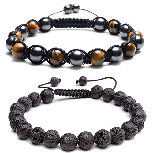 Bracelet Set Tiger (Top Plaza Natural Tiger Eye Stone Magnetic Hematite Healing Therapy Beads Lava Stone Aromatherapy Essential Oil Diffuser Macrame Adjustable Braided Link Bracelets Set(Yellow))