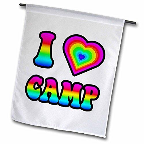 3dRose Groovy Hippie Rainbow I Heart Love Camp - Garden Flag, 12 by 18