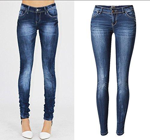 Denim Slim Design Grande Per Yao Bassa Con Le In Stretch Donne Taglia Pantaloni Semplice Denim A Blue Vita nvxvOECS1W