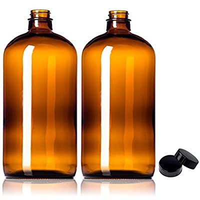 2 Pack ~ 32oz Growler ~ Amber Glass with PolyCone Phenolic Lid for a Tight Seal - Perfect for Secondary Fermentation and Storing Kombucha