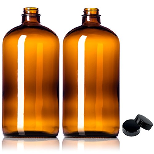 2 Pack ~ 32oz Amber Glass Growlers with Polycone Lids for a Tight Seal - Perfect for Secondary Fermentation, Storing Kombucha, Homemade Cleaning Products, Traveling or a One Liter Glass (Pump Lid Glass)