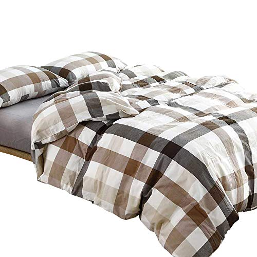 Plaid Queen Comforter Set - MKXI Cotton Queen Size Bed Duvet Cover Geometric Pattern Coffee White Grid Plaid Bedding Sets