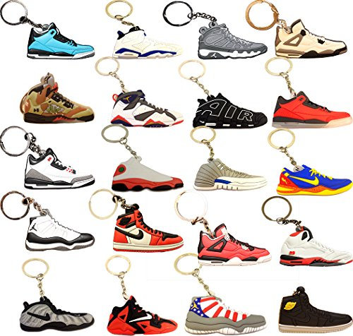 Pack Mens Basketball ((#AJ 20Pack) Basketball Sneakers Keychain Ringkey Collection Value Pack)