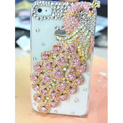 SODIAL(TM) Diamond Luxury Clear Pink Peacock Protector Case for Iphone 4 & 4s, 3d Peacock Diamond](Iphone 4 Case Peacock)