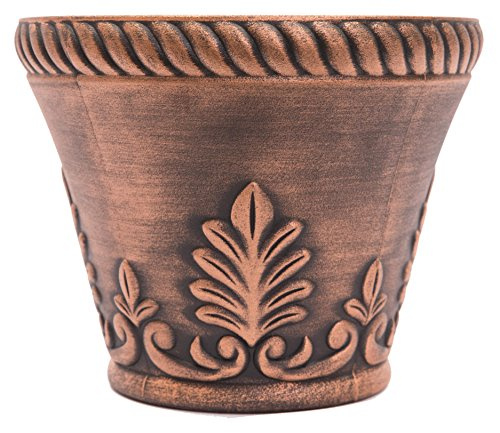 Rustic Venetian Look Plastic Planter 10X8 Flowerpot for Indoor, Outdoor, Garden, Patio, Office Ornaments, Home Decor, Long Lasting Reusable, Light Weight, Water Resistant (Copper) by Sapphire USA