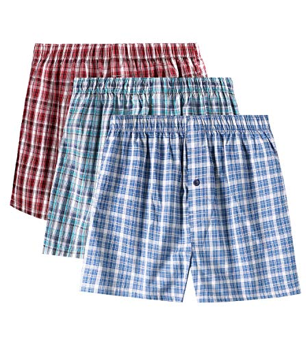 LAPASA Men's Cotton Classic Woven Boxer Shorts Plaid Underwear Button Fly 3 Pack M40 (Multicolor 3, XX-Large)